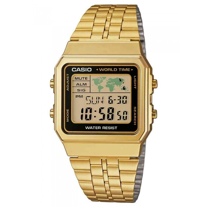 RELOJ CASIO DORADO RETRO WORLD TIME A500WEGA-1EF