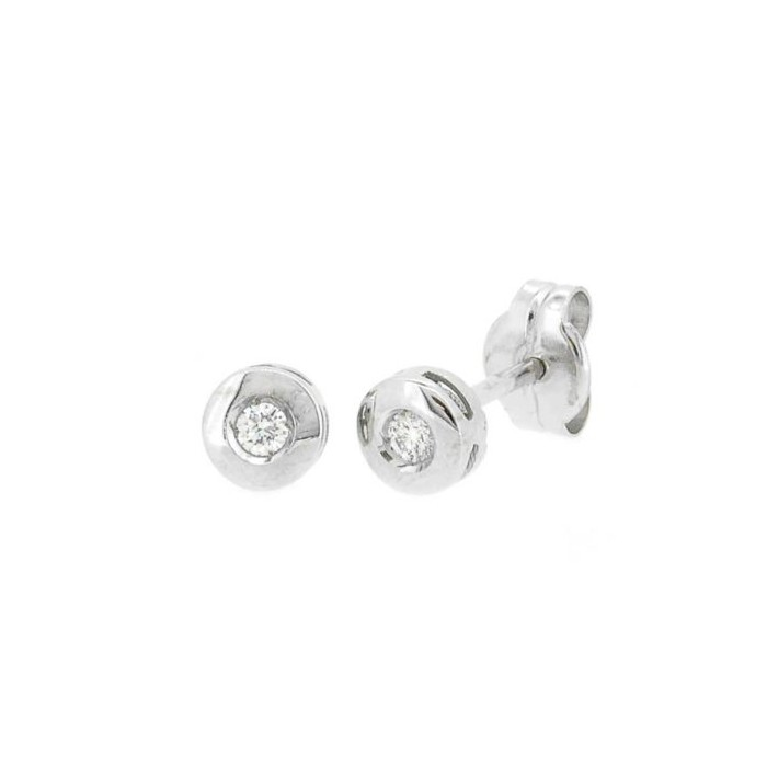 PENDIENTES ORO BLANCO 18 qts DIAMANTES 0,04 ct CERTIFICADO