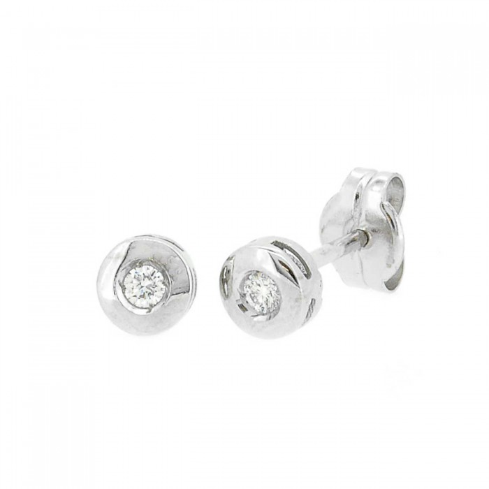 PENDIENTES ORO BLANCO 18 qts DIAMANTES 0,08 ct CERTIFICADO